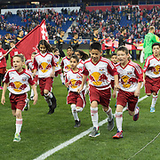 Mar 19, 2016; Harrison, NJ, USA; Young fans run off the field after the national anthem prior to the game betweenHouston Dynamo at New York Red Bulls at Red Bull Arena. Red Bulls defeat the Dynamo 4-3. Mandatory Credit: William Hauser-USA TODAY Sports