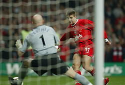 CARDIFF, WALES - Sunday, March 2, 2003: Liverpool's Steven Gerrard shoots at Manchester United's goalkeeper Fabien Barthez during the Football League Cup Final at the Millennium Stadium. (Pic by David Rawcliffe/Propaganda)