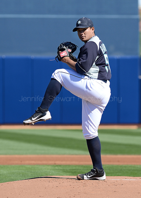 PEORIA, AZ - FEBRUARY 24:  Starting pitcher Erasmo Ramirez #50 of the Seattle Mariners pitches in the spring training game against the San Diego Padres at Peoria Sports Complex on February 24, 2013 in Peoria, Arizona.  (Photo by Jennifer Stewart/Getty Images) *** Local Caption *** Erasmo Ramirez