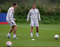 Photo: Paul Thomas.<br /> England Training. 06/10/2006.<br /> <br /> Michael Carrick and Scott Parker.