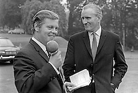 N Ireland Prime Minister, Major James Chichester-Clark, being interviewed by  ??????????? (can you name interviewer? Please contact me) in the grounds of Stormont Castle, Belfast, 5th August 1969. KNOW THE INTERVIEWER? PLEASE LET ME KNOW. 196908050233b<br /> <br /> Copyright Image from Victor Patterson, 54 Dorchester Park, Belfast, UK, BT9 6RJ<br /> <br /> t1: +44 28 9066 1296<br /> t2: +44 28 9002 2446<br /> m: +44 7802 353836<br /> <br /> e1: victorpatterson@me.com<br /> e2: victorpatterson@gmail.com<br /> <br /> IMPORTANT: My Terms and Conditions of Business are at www.victorpatterson.com