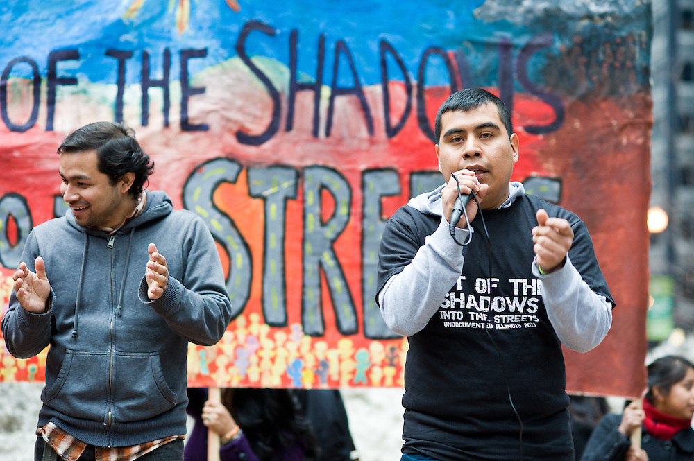 Undocumented immigrants and supporters rally at Federal Plaza in Chicago on Sunday, March 10, 2013, for the fourth National Coming Out of the Shadows Day.
