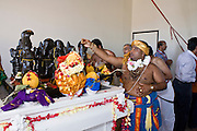 18 MAY 2008 -- MARICOPA, AZ: Hindu holy men bless a deity that represents the solar system during the dedication of the new Hindu temple in Maricopa, AZ, Sunday. More than 3,000 Hindus from Arizona, southern California and New Mexico came to Maricopa, AZ, a small town in the desert about 50 miles south of Phoenix, for the dedication of the Maha Ganapati Temple of Arizona. It is the first Hindu temple in Arizona designed according to ancient South Indian Hindu architectural guides. Craftsmen from India came to Maricopa to complete the interior details of the temple. The dedication ceremonies lasted three days.   Photo by Jack Kurtz / ZUMA Press