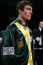 """Irish"" John Duddy stands in the ring before his 10 round bout against Byron Mackie at the Hammerstein Ballroom in NYC.  Duddy won the bout via 4th round KO."