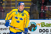 KELOWNA, BC - DECEMBER 18: Rasmus Sandin #8 of Team Sweden warms up against the Team Russia at Prospera Place on December 18, 2018 in Kelowna, Canada. (Photo by Marissa Baecker/Getty Images)***Local Caption***