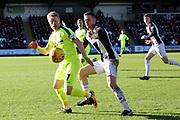 Hibernian midfielder Daryl Horgan (7) shields the ball from the St Mirren defence during the Ladbrokes Scottish Premiership match between St Mirren and Hibernian at the Paisley 2021 Stadium, St Mirren, Scotland on 27 January 2019.