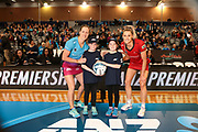 ANZ Future Captains Millie Scott (left) with Southern Steel captain Wendy Frew and Pippa Green (right) with Tactix captain Jane Watson during the Southern Steel v Mainland Tactix, ANZ Netball Premiership, Edgar Centre, Dunedin, New Zealand. June 24, 2018. Copyright Image: Derek Morrison / www.photosport.nz