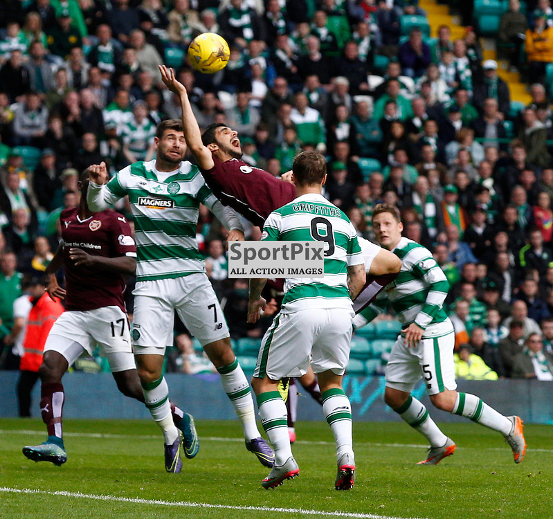 Celtic v Hearts....Leigh Griffiths takes a shot at goal as Igor Rossi, Nadir Ciftci and Leigh Griffiths all battle for the ball in a goal mouth scramble....(c) STEPHEN LAWSON | SportPix.org.uk