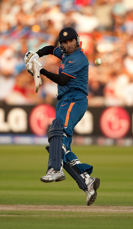 Yuvraj Singh bats during the ICC World Twenty20 Cup match between India and England at Lord's. Photo © Graham Morris (Tel: +44(0)20 8969 4192 Email: sales@cricketpix.com)