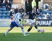 Dundee's Gary Irvine runs at Kilmarnock's James Dayton - Dundee v Kilmarnock, William Hill Scottish FA Cup 4th Round,..- © David Young - .5 Foundry Place - .Monifieth - .DD5 4BB - .Telephone 07765 252616 - .email; davidyoungphoto@gmail.com - .web; www.davidyoungphoto.co.uk.