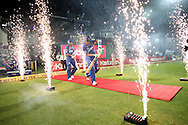 Ajinkya Rahane of Rajasthan Royals and Rajasthan Royals captain Rahul Dravid walk out to bat during the first semi-final match of the Karbonn Smart Champions League T20 (CLT20) 2013 between The Rajasthan Royals and the Chennai Superkings held at the Sawai Mansingh Stadium in Jaipur on the 4th October 2013<br /> <br /> Photo by Shaun Roy-CLT20-SPORTZPICS<br /> <br /> Use of this image is subject to the terms and conditions as outlined by the CLT20. These terms can be found by following this link:<br /> <br /> http://sportzpics.photoshelter.com/image/I0000NmDchxxGVv4