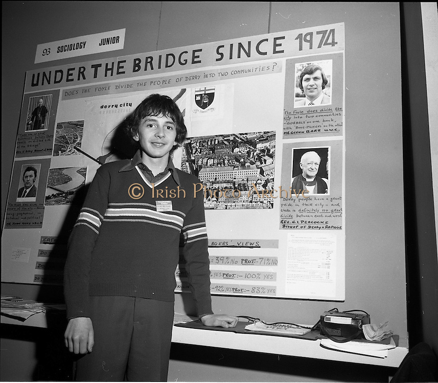 03/01/1975.01/03/1975.3rd January 1975.The Aer Lingus Young Scientist Exhibition at the RDS, Dublin...Picture shows James Mc Cauley of St. Peters CBS Foyle Hill, Derry who won third prize in the junior section of Sociology with a project entitled 'Does the Foyle Divide the City of Derry in to Communities.'