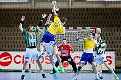 Gasper Hrastnik of Koper during handball match between RK Cimos Koper and Frisch Auf Goeppingen (GER) in 3rd Round of EHF Cup 2012/2013, on February 23, 2013 in Arena Bonifika, Koper, Slovenia. Goeppingen defeated Cimos Koper 39-36. (Photo By Vid Ponikvar / Sportida)