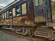 Retired passenger railroad car at Steamtown, USA, National Park.