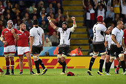 Valentin Ursache of Romania celebrates at the final whistle - Mandatory byline: Patrick Khachfe/JMP - 07966 386802 - 06/10/2015 - RUGBY UNION - Leicester City Stadium - Leicester, England - Canada v Romania - Rugby World Cup 2015 Pool D.