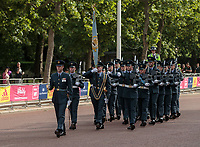 The Guard at the Royal Palaces changes as The Coldstream Guards marching in and The RAF Regiment marching out. The Vitality Westminster Mile, Sunday 28th May 2017.<br /> <br /> Photo: Ben Queenborough for The Vitality Westminster Mile<br /> <br /> For further information: media@londonmarathonevents.co.uk