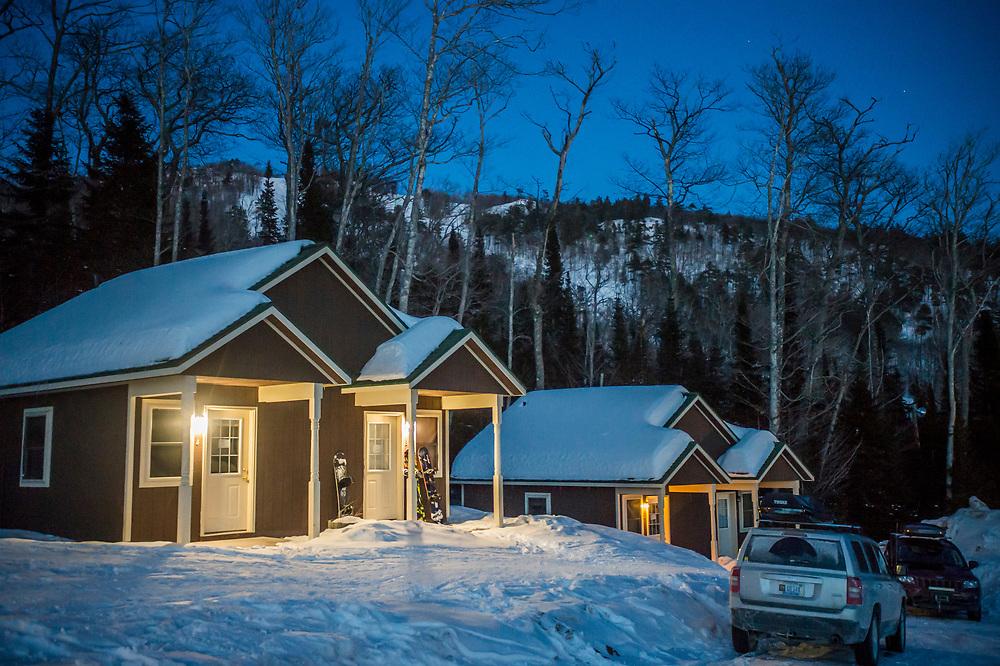 Trailside cabins at Mount Bohemia ski area in Michigan.