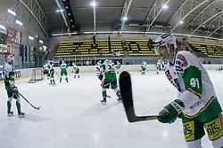 Warm-up before ice-hockey match between HK Playboy Slavija and HDD Telemach Olimpija in second game of Final at Slovenian National League, on April 8, 2013 at Dvorana Zalog, Ljubljana, Slovenia. (Photo By Matic Klansek Velej / Sportida.com)