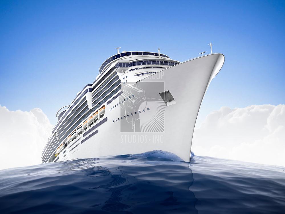 Luxury cruiseship sailing the waters with a dramadic fisheye lens effect