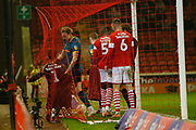 Players of Hull City and Barnsley clash after the goal during the EFL Sky Bet Championship match between Barnsley and Hull City at Oakwell, Barnsley, England on 30 November 2019.