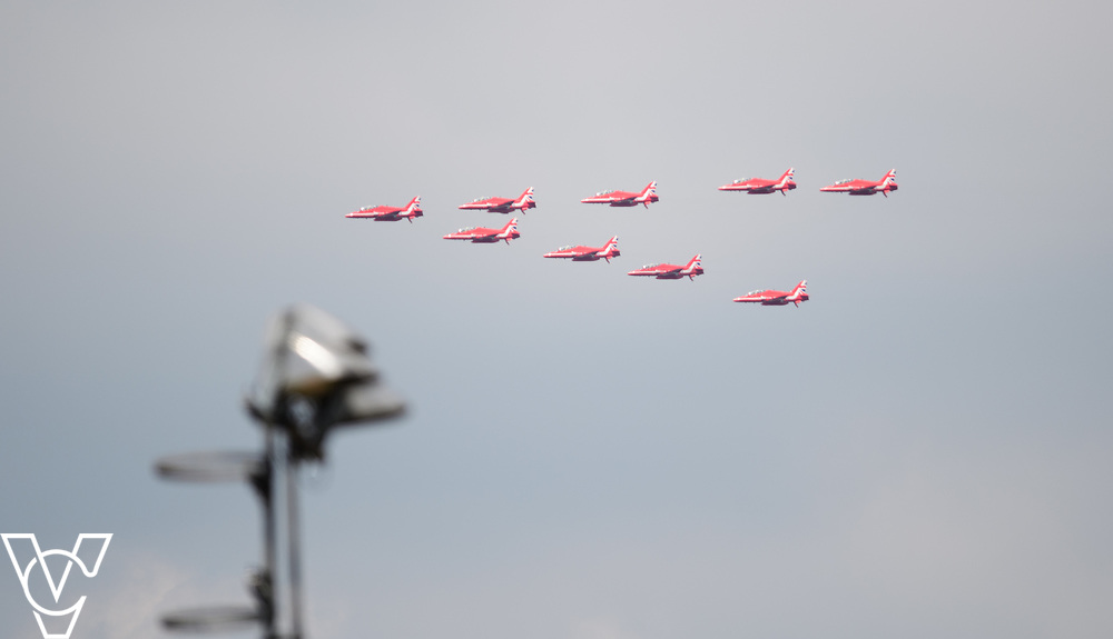 Metro Blind Sport's 2017 Athletics Open held at Mile End Stadium.  The RAF Red Arrows flying past the stadium before taking part in the flypast for the Queen's birthday parade<br /> <br /> Picture: Chris Vaughan Photography for Metro Blind Sport<br /> Date: June 17, 2017