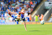 Callum Camps shoots during the EFL Sky Bet League 1 match between Rochdale and Peterborough United at Spotland, Rochdale, England on 6 August 2016. Photo by Daniel Youngs.
