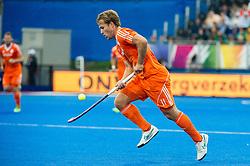 The Netherlands Jeroen Hertzberger demonstrates his 3D skills. The Netherlands v Germany - Final Unibet EuroHockey Championships, Lee Valley Hockey & Tennis Centre, London, UK on 29 August 2015. Photo: Simon Parker