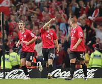 Photo: Lee Earle.<br /> Barnsley v Swansea City. Coca Cola League 1. Play off Final. 27/05/2006. Barnsley's Daniel Nardiello (C) celebrates his goal.