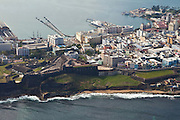 Aerial of Fort San Cristóbal and the old city of San Juan, Puerto Rico.