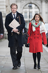 © Licensed to London News Pictures. 15/11/2017. London, UK. Richard Ratcliffe arrives at the Foreign Office with Tulip Siddiq MP to meet with Boris Johnson. Mr Ratcliffe's wife, Nazanin Zaghari-Ratcliffe, is currently serving a five-year prison sentence after being arrested at Tehran airport in April 2016 as she attempted to return home from a visit to see her family. Her sentence may be increased after Foreign Secretary Boris Johnson mistakenly said she was in Iran to train journalists. Photo credit: Peter Macdiarmid/LNP