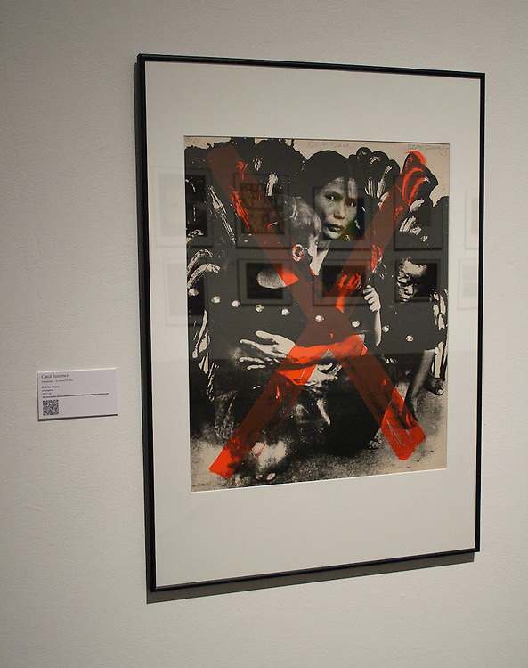 """Carol Summers<br /> American (Kingston, N.Y., 1925)<br /> """"Kill for Peace""""<br /> screenprint<br /> 1982.001.026<br /> <br /> Carol Summers is an impresario of luminous large scale color woodcuts. You couldn't know that by seeing the disturbing image he contributed to Artists & Writers Protest, """"Kill for Peace,"""" titled after a popular song of the time by the Fugs. This image of a Vietnamese mother and her children was widely published in anti-war posters and publications. Summers appropriated the image and added the red X and perforations that look like automatic rifle spray.<br /> <br /> http://www.memphis.edu/amum/exhibitions/carol.summers.kill.for.peace.silkscreen.perforations.php"""