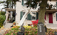 Haunted sightings along Pleasant Street in Laconia.  (Karen Bobotas/for the Laconia Daily Sun)