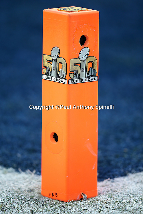 The Super Bowl 50 logo appears on an end zone pylon cut out with holes for television cameras during the Denver Broncos NFL Super Bowl 50 football game against the Carolina Panthers on Sunday, Feb. 7, 2016 in Santa Clara, Calif. The Broncos won the game 24-10. (©Paul Anthony Spinelli)