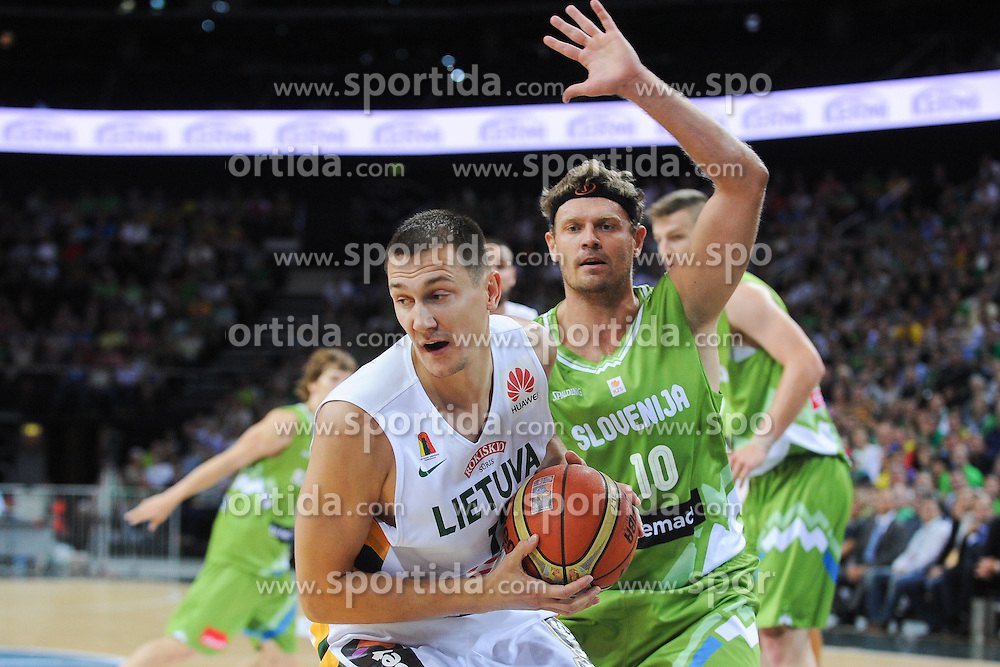Paulius Jankunas of Lithuania vs Miha Zupan of Slovenia during friendly match between National Teams of Slovenia and Lithuania before World Championship Spain 2014 on August 18, 2014 in Kaunas, Lithuania. Photo by Robertas Dackus / Sportida.com