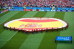 MOSCOW, RUSSIA - Sunday, July 1, 2018: Volunteers unveil a huge Spain flag on the pitch before the FIFA World Cup Russia 2018 Round of 16 match between Spain and Russia at the Luzhniki Stadium. (Pic by David Rawcliffe/Propaganda)