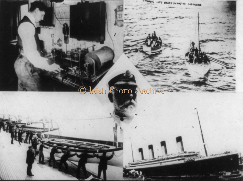 Loss of RMS Titanic which struck an iceberg on 12 April 1912.  Wireless operator on SS Carpathia receiving distress message: Captain Smith of the Titanic: Lifboats bringing survivors to the Carpathia. Shipwreck  Disaster