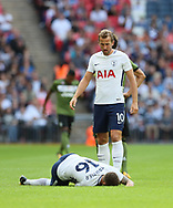 Tottenham's Harry Kane looks on concernered after Kieran Trippier gets injured during the pre season match at Wembley Stadium, London. Picture date 5th August 2017. Picture credit should read: David Klein/Sportimage