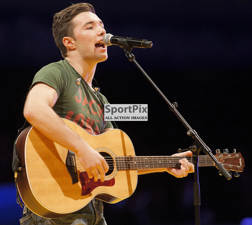 GLASGOW, SCOTLAND - OCTOBER 4: Star of The Voice Max Murphy performs at the Glasgow European Open for Women at the Emirates Arena on Saturday, October 4, 2014 Glasgow, Scotland, United Kingdom. (Photo by Jonathan Faulds/SportPix)