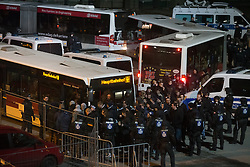 Football: Germany, 1. Bundesliga, Braunschweig, 15.02.2014<br />lots of police to secure all the HSV fans when the team bus was living the stadium<br /> copyright: pixathlon