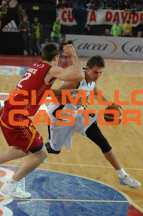 DESCRIZIONE : Roma Lega A1 2007-08 Lottomatica Virtus Roma Upim Fortitudo Bologna <br /> GIOCATORE : Stefano Mancinelli <br /> SQUADRA : Upim Fortitudo Bologna <br /> EVENTO : Campionato Lega A1 2007-2008 <br /> GARA : Lottomatica Virtus Roma Upim Fortitudo Bologna <br /> DATA : 02/12/2007 <br /> CATEGORIA : Penetrazione <br /> SPORT : Pallacanestro<br /> AUTORE : Agenzia Ciamillo-Castoria/E.Grillotti