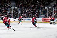KELOWNA, CANADA - MARCH 16: Kaedan Korczak #6 of the Kelowna Rockets skates with the puck against the Vancouver Giants  on March 16, 2019 at Prospera Place in Kelowna, British Columbia, Canada.  (Photo by Marissa Baecker/Shoot the Breeze)