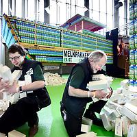 Nederland, Amsterdam , 9 maart 2012..Melkpakkenboot op Hiswa..Vier medewerkers van âs Heerenloo Opmaat gaan een boot van 10.000 melkpakken bouwen om daarmee over zee te varen: van Calais naar Londen, vlak voor de Olympische Spelen in die laatste stad beginnen. Met de actie willen ze geld ophalen voor gehandicapte kinderen in Rusland..Door media-aandacht te zoeken, een benefietconcert te organiseren en in de Amsterdam Rai op botenshow HISWA te gaan staan, hopen Egbert en zijn collegaâs veel geld in te zamelen. Maar er zijn ook materialen nodig. Onderdak en vervoer van de boot zijn al geregeld en er is een sponsorbedrag van 3000 euro....Foto:Jean-Pierre Jans