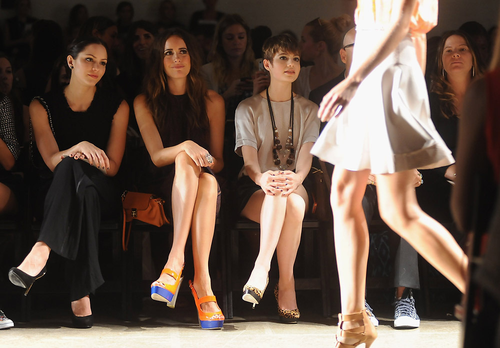 Katherine McFee, Louise Roe and photographed in the front row during Mercedes Benz Fashion Week