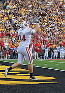 October 23 2010: Wisconsin Badgers running back Bradie Ewing (34) pulls in a 7 yard touchdown catch during the first half of the NCAA football game between the Wisconsin Badgers and the Iowa Hawkeyes at Kinnick Stadium in Iowa City, Iowa on Saturday October 23, 2010. Wisconsin defeated Iowa 31-30.