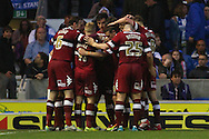 Derby County players celebrate their team's 2nd goal of the game to make it 1-2 during the Sky Bet Championship play off semi final first leg at the American Express Community Stadium, Brighton and Hove<br /> Picture by David Horn/Focus Images Ltd +44 7545 970036<br /> 08/05/2014