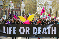 "© Licensed to London News Pictures. 15/04/2019. London, UK. Environmental activists with a large ""Life or Death"" banner demonstrates in Parliament Square to demand decisive action from the UK Government. The protest is organised by Extinction Rebellion. Photo credit: Dinendra Haria/LNP"