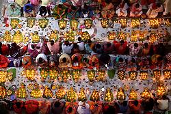 November 3, 2018 - Dhaka, Bangladesh - Dhaka, Bangladesh. Bangladeshi Hindu devotees celebrating five-day long Rakher Upbah festival at a Temple in Dhaka, Bangladesh on November 3, 2018. Devotees sits with Prodip, prayers to God and fast until the lamps have burned out. (Credit Image: © Rehman Asad/NurPhoto via ZUMA Press)