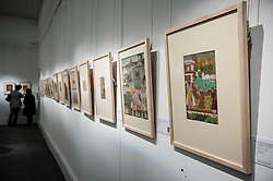 "© Licensed to London News Pictures. 02/10/2015. London, UK. Examples from the Sven Gahlin Collection of 157 finely painted Indian miniature paintings at the preview of Indian and Islamic Art Week at Sotheby's which runs from 2 to 7 October.   The far right painting is ""The emperor Bahadur Shah I enthroned, attributable to Bhavanidas, Mughal, circa 1707"" (est. £60k - 80k).   Photo credit : Stephen Chung/LNP"