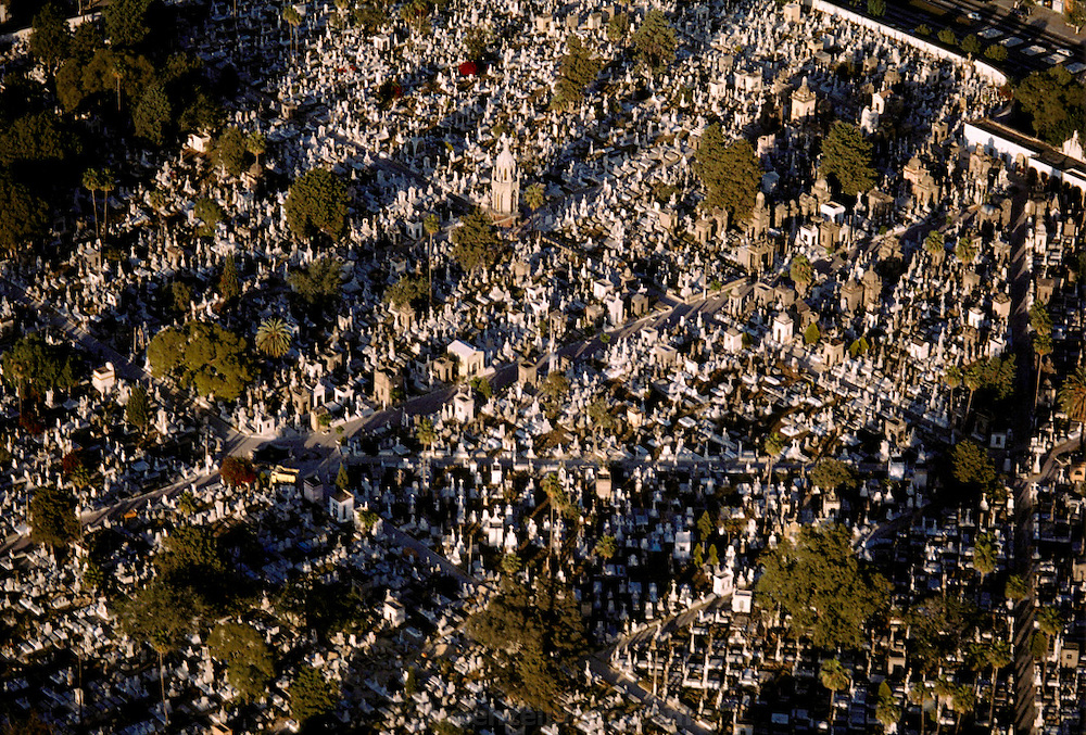 Aerial of a cemetery in Guadalajara, Mexico.