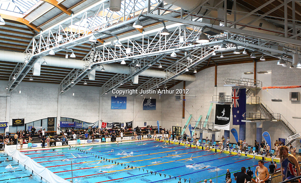 General view of Wellington Aquatics Centre. 2012 New Zealand Short Course Swimming Championships, Day 3, Wellington Aquatics Centre, Kilbirnie, Wellington on Tuesday 2 October 2012. Photo: Justin Arthur / photosport.co.nz